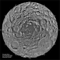 This orthographic projection is centered on the south polar region of the moon as seen by NASA's Clementine spacecraft. The Schrodinger Basin is located in the lower right of the mosaic.
