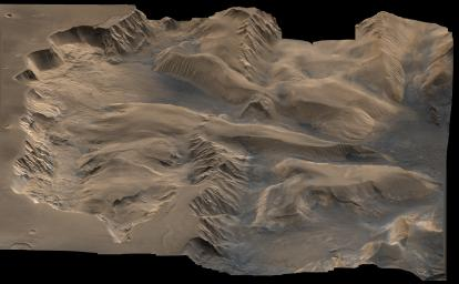 An oblique, color image of central Valles Marineris, Mars showing relief of Ophir and Candor Chasmata; view toward east. The photograph is a composite of Viking high-resolution images in black and white and low-resolution images in color.