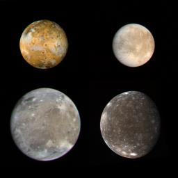 These photos of the four Galilean satellites of Jupiter were taken by NASA's Voyager 1 during its approach to the planet in early March 1979. Io, Europa, Ganymede, and Callisto are shown in their correct relative sizes.