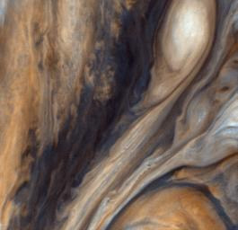 Exaggerated Color East of the Great Red Spot