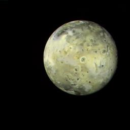 This full-disk image of Jupiter's satellite Io was made from several frames taken by NASA's Voyager 1 on Mar. 4, 1979, as the spacecraft neared the satellite.