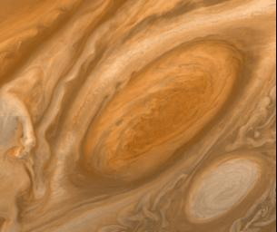 This mosaic of Jupiter's Great Red Spot taken by NASA's Voyager 1, shows the area around the northern boundary where a white cloud is seen which extends to east of the region.