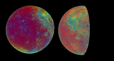 These color visualizations of the Moon were obtained by NASA's Galileo spacecraft as it left the Earth after completing its first Earth Gravity Assist. The images were acquired Dec. 8-9, 1990.