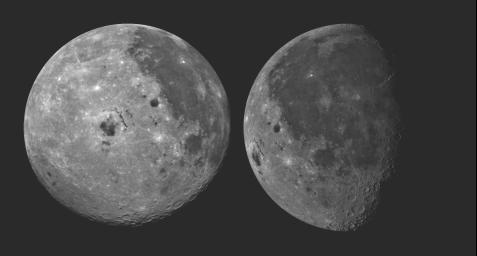 These pictures of the Moon were taken by NASA's Galileo spacecraft at (right photo) Dec.8, 1990 from a distance of almost 220,000 miles, and at (left photo) Dec. 9, 1990 at a range of more than 350,000 miles.