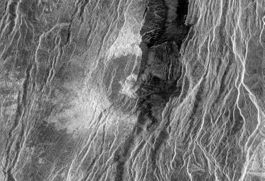 Venus - Fractured Somerville Crater in Beta Regio