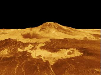 Maat Mons is displayed in this computer generated three-dimensional perspective of the surface of Venus. This NASA Magellan image was released on April 22, 1992.