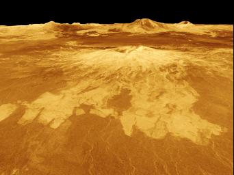 Sapas Mons is displayed in the center of this computer-generated three-dimensional perspective view from NASA's Magellan spacecraft of the surface of Venus.