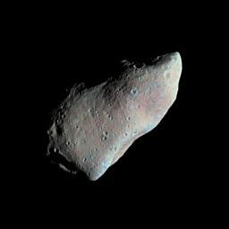 Asteroid Gaspra - Highest Resolution Mosaic (False Color), NASA/JPL image PIA00119.jpg