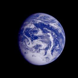 This color image of the Earth was obtained by NASA's Galileo spacecraft early Dec. 12, 1990, when the spacecraft was about 1.6 million miles from the Earth.