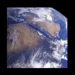 This image of northeast Africa and the Arabian Peninsula was taken from an altitude of about 500,000 kilometers (300,000 miles) by NASA�s Galileo spacecraft on December 9, 1992, as it left Earth en route to Jupiter.