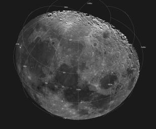 This mosaic picture of the Moon was compiled from 18 images taken with a green filter NASA's Galileo's imaging system during the spacecraft's flyby on December 7, 1992, some 11 hours before its Earth flyby.