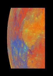 This false-color mosaic of part of the Moon was constructed from 54 images taken by the imaging system aboard NASA's Galileo as the spacecraft flew past the Moon on December 7, 1992.