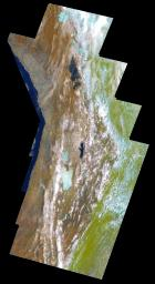 This false-color mosaic of the central part of the Andes mountains of South America (70 degrees w. longitude, 19 degrees s. latitude) is made up of 42 images acquired by NASA's Galileo spacecraft from an altitude of about 25,000 kilometers (15,000 miles).