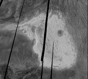 NASA's Magellan full-resolution image shows Maxwell Montes, centered at 65 degrees north latitude and 6 degrees east longitude. Maxwell is the highest mountain on Venus, rising almost 11 kilometers (6.8 miles) above mean planetary radius.