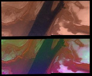 North Polar Cap Margin (natural color (top) and enhanced color (bottom))