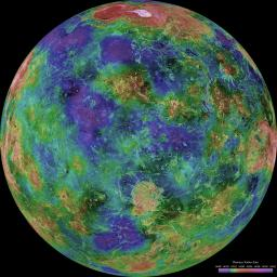 The hemispheric view of Venus, as revealed by more than a decade of radar investigations culminating in NASA's 1990-1994 Magellan mission, is centered at 0 degrees east longitude.