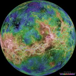 The view of Venus, after more than a decade of radar investigations culminating in the 1990-1994 NASA Magellan mission, is centered at 180 degrees east longitude.