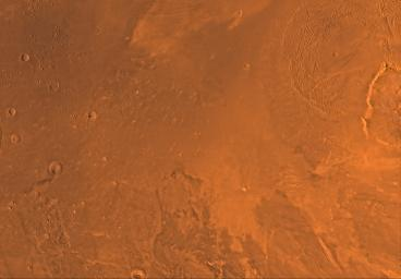Mars digital-image mosaic merged with color of the MC-8 quadrangle, Amazonis region of Mars. This image is from NASA's Viking Orbiter 1.