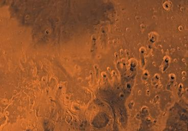Mars digital-image mosaic merged with color of the MC-11 quadrangle, Oxia Palus region of Mars. This image is from NASA's Viking Orbiter 1.