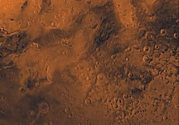 Mars digital-image mosaic merged with color of the MC-19 quadrangle, Margaritifer Sinus region of Mars. This image is from NASA's Viking Orbiter 1.