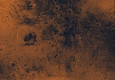 Mars digital-image mosaic merged with color of the MC-21 quadrangle, Iapygia region of Mars. This image is from NASA's Viking Orbiter 1.