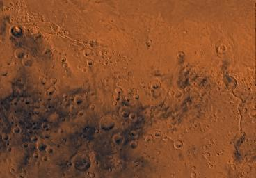 Mars digital-image mosaic merged with color of the MC-23 quadrangle, Aeolis region of Mars. This image is from NASA's Viking Orbiter 1.