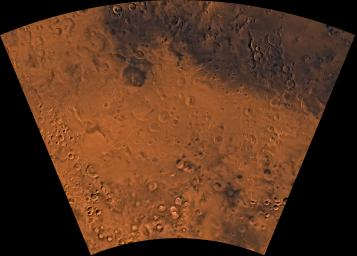 Mars digital-image mosaic merged with color of the MC-24 quadrangle, Phaethontis region of Mars. This image is from NASA's Viking Orbiter 1.