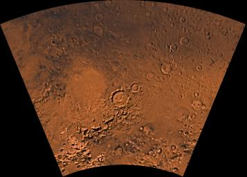 Mars digital-image mosaic merged with color of the MC-26 quadrangle, Argyre region of Mars. This image is from NASA's Viking Orbiter 1.
