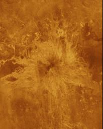 Ushas Mons, a volcano in the southern hemisphere of Venus is shown in this radar image from NASA's Magellan spacecraft. The volcano is marked by numerous bright lava flows and a set of north-south trending fractures.