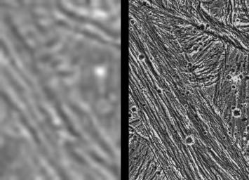 These images demonstrate the dramatic improvement in the resolution of pictures that NASA's Galileo spacecraft returned compared to previous images of the Jupiter system.