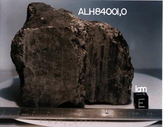 This 4.5 billion-year-old rock, labeled meteorite ALH84001, is one of 10 rocks from Mars in which researchers have found organic carbon compounds that originated on Mars without involvement of life.