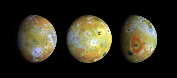 Three full-disk color views of Jupiter's volcanic moon Io as seen by NASA's Galileo spacecraft are shown in enhanced color to highlight details of the surface.