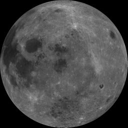 The dark albedo features Mare Smythii (image center) and Mare Marginis (above Smythii) are visible in this image of the Moon from NASA's Clementine spacecraft.