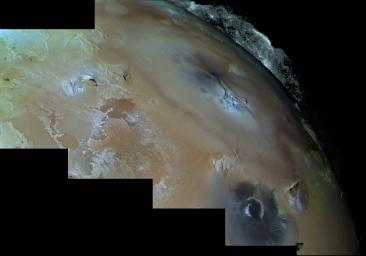 The eruption of Pele on Jupiter's moon Io. The volcanic plume rises 300 kilometers above the surface in an umbrella-like shape. This image is from NASA's Voyager 1.