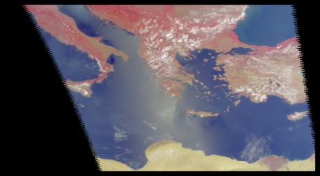These four images of the Mediterranean were obtained concurrently on June 14, 2002 from the three instruments that make up the Atmospheric Infrared Sounder experiment system aboard NASA's Aqua spacecraft.