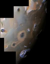 This archival image mosaic from NASA's Voyager 1 shows Io's south polar region. The South Pole is near the terminator (line between daylight and night) at right center. Haemus Mons, a 10-km high (32,000 foot) mountain is at bottom.