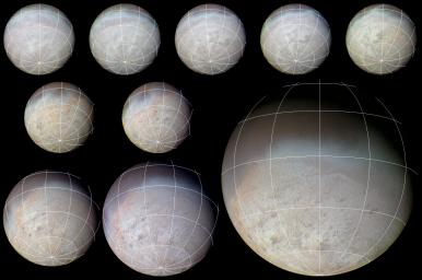 This color image from NASA's Voyager 2 was reconstructed by making a computer composite of three black and white images taken through red, green, and blue filters. Details on Triton's surface unfold dramatically in this sequence of approach images.