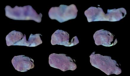 Nine Galileo Views in Exaggerated Color of Main-Belt Asteroid Ida