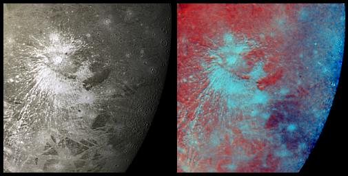 This mosaic of NASA's Voyager 2 images taken July 9, 1979, shows a prominent rayed crater on Jupiter's icy moon, Ganymede.