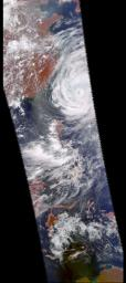 These four images of Tropical Cyclone Ramasun were obtained July 3, 2002 by the Atmospheric Infrared Sounder experiment system onboard NASA's Aqua spacecraft.