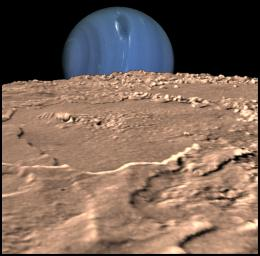 This composite view from NASA's Voyager 2 shows Neptune on Triton's horizon. The foreground in this computer generated view of Triton's maria as they would appear from a point approximately 45 km above the surface.