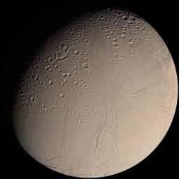 This color image mosaic from NASA's Voyager 2 shows the water-ice-covered surface of Enceladus, one of Saturn's icy moons. Enceladus' diameter of just 500 km would fit across 