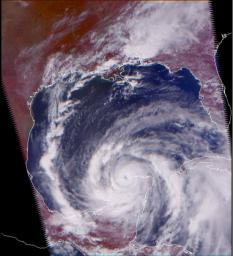 Hurricane Isidore as seen by the Atmospheric Infrared Sounding System (AIRS) on NASA's Aqua in 2002.