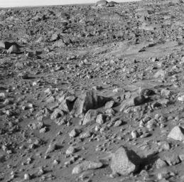 NASA's Viking 1 took this high-resolution on its third day on Mars. The photo shows numerous angular blocks ranging in size from a few centimeters to several meters.