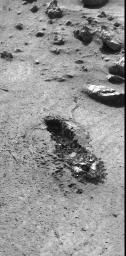 This image from NASA's Viking 1 shows the trench excavated by its surface sampler.