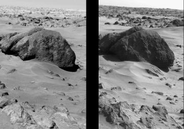This pair of pictures from NASA's Viking Lander 1 at Mars' Chryse Planitia shows the only unequivocal change in the Martian surface seen by either lander. A high boulder nicknamed 'Big Joe' is shown next to a small-scale slump feature.