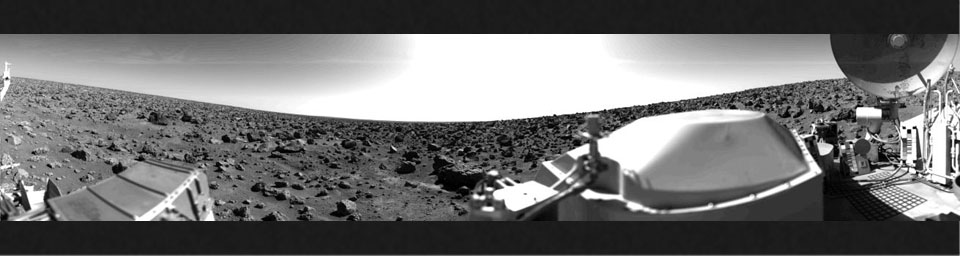 This rocky panoramic scene is the second picture of the Martian surface that was taken by NASA's Viking Lander 2 shortly after touchdown on Sept. 3, 1976. The site is on a northern plain of Mars known as Utopia Planitia.