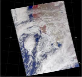 Visible image of a California storm in March, 2003, as seen by the Atmospheric Infrared Sounder (AIRS) on NASA's Aqua satellite.