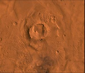 A color image of the Apollinaris Patera Region of Mars; north toward top, taken by NASA's Viking spacecraft.