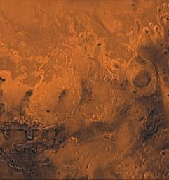 This image from NASA's Viking Orbiter 2 is of the south Chryse basin Valles Marineris outflow channels on Mars. The scene shows on the southwest corner the chaotic terrain of the east part of Valles Marineris and two of its related canyons.